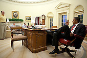 United States President Barack Obama meets with advisors before talking on the phone with Prime Minister Benjamin Netanyahu of Israel in the Oval Office, Monday, May 31, 2010. .Mandatory Credit: Pete Souza - White House via CNP