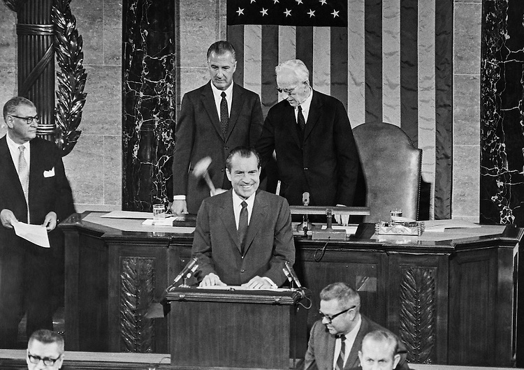 Richard Nixon addresses Congress. 1969 (Photo by CQ Roll Call)