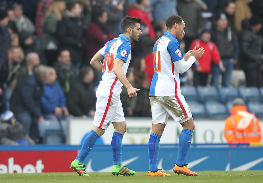 Blackburn Rovers Jordi Gomez celebrates scoring his sides first goal  with  Elliott Bennett<br /> <br /> Photographer Mick Walker/CameraSport<br /> <br /> Football - The Football League Sky Bet Championship - Blackburn Rovers v Milton Keynes Dons - Saturday 27th February 2016 - Ewood Park - Blackburn<br /> <br /> &copy; CameraSport - 43 Linden Ave. Countesthorpe. Leicester. England. LE8 5PG - Tel: +44 (0) 116 277 4147 - admin@camerasport.com - www.camerasport.com