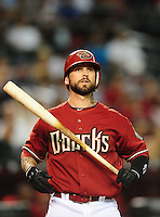 Jun. 9, 2010; Phoenix, AZ, USA; Arizona Diamondbacks second baseman Ryan Roberts against the Atlanta Braves at Chase Field. Mandatory Credit: Mark J. Rebilas-