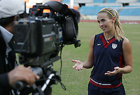 USWNT defender Heather Mitts talks to the South Korean media following practice for the Queen Peace Cup at Olympic Stadium in Seoul, South Korea, October 27, 2006.