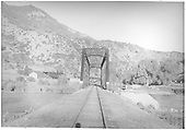 East-end view of the Animas River Bridge as seen from center of track.<br /> RGS  Durango, CO  Taken by Barriger, John W. III - 9/9/1935