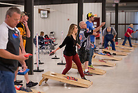 NWA Democrat-Gazette/BEN GOFF @NWABENGOFF<br /> Competitors take practice tosses Friday, March 9, 2018, during the American Cornhole Organization's Bentonville Major at the Benton County Fairgrounds and Expo Center in Bentonville. The tournament continues Saturday with World Doubles and World Singles divisions. Organizers say spots are still open to enter Saturday's events, with no entry fee, if cornholers show up by 9:30 a.m.