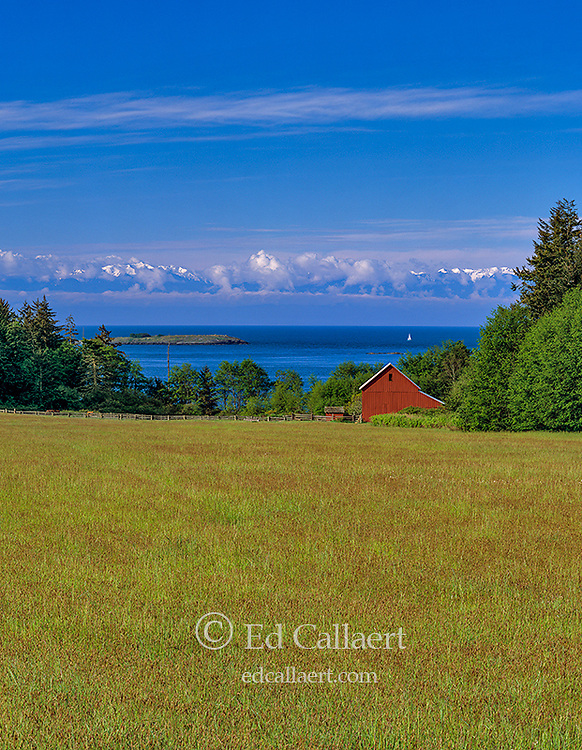 Red Barn, Lopez Island, San Juan Islands, Strait of Juan de Fuca, Olympic National Park; Washington