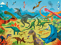 Lots of different dinosaurs in colourful scene