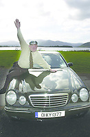 JACKIE HEALY-RAE KILLARNEY 6-9-01.South Kerry TD Jackie Healy-Rae  pictured on his Merc in  Killarney..Picture by Don MacMonagle Jackie Healy-Rae, TD from the book by Don MacMonagle entitled 'Jackie - Keeping Up Appearances' published in 2002.