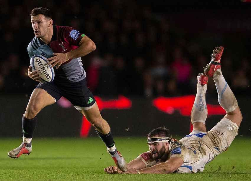 Harlequins' Danny Care evades the tackle of Exeter Chiefs' Don Armand<br /> <br /> Photographer Bob Bradford/CameraSport<br /> <br /> Gallagher Premiership Round 9 - Harlequins v Exeter Chiefs - Friday 30th November 2018 - Twickenham Stoop - London<br /> <br /> World Copyright © 2018 CameraSport. All rights reserved. 43 Linden Ave. Countesthorpe. Leicester. England. LE8 5PG - Tel: +44 (0) 116 277 4147 - admin@camerasport.com - www.camerasport.com