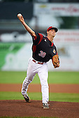 Batavia Muckdogs starting pitcher Sam Perez (38) during a game against the West Virginia Black Bears on August 20, 2016 at Dwyer Stadium in Batavia, New York.  Batavia defeated West Virginia 7-2. (Mike Janes/Four Seam Images)