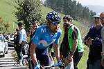 Jose Joaquim Rojas (ESP) Movistar Team on the Ixua a brutal 20% off road climb during Stage 5 of the Tour of the Basque Country 2019 running 149.8km from Arrigorriaga to Arrate, Spain. 12th April 2019.<br /> Picture: Colin Flockton | Cyclefile<br /> <br /> <br /> All photos usage must carry mandatory copyright credit (© Cyclefile | Colin Flockton)
