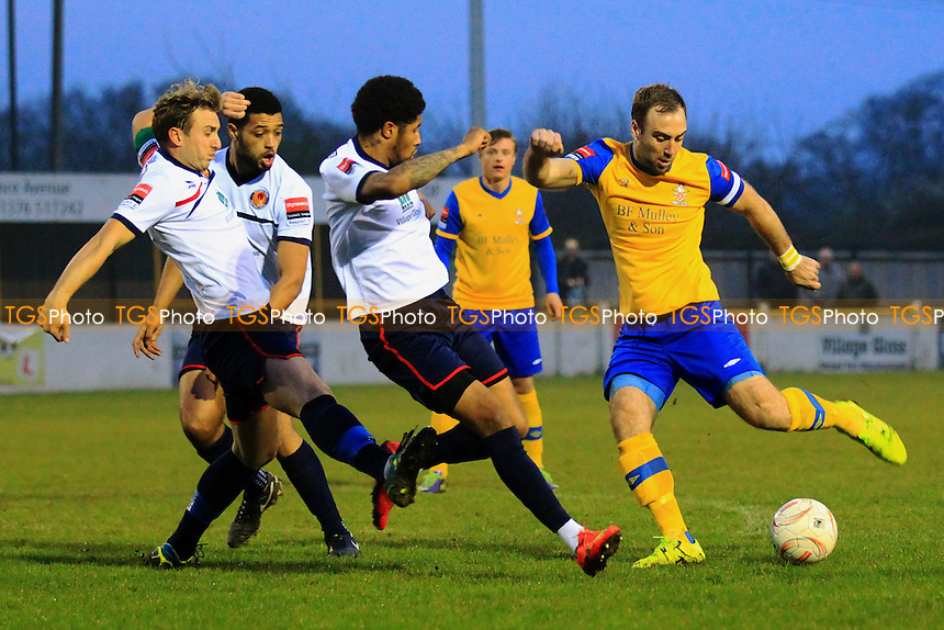Elliot Styles  of Hornchurch fires in a shot during Witham Town vs AFC Hornchurch, Ryman League Divison 1 North Football at Spa Road on 11th April 2016