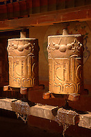 The Prayer Wheel is the best-known Tibetan ritual object. From the smallest to the largest, prayer wheels contain sacred texts or mantra. The cylinder of the wheel is always rotated counter-clockwise and each turn is the equivalent to actually saying the prayers..