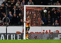 David Meyler of Hull City scores the opening goal with a back post header during the Capital One Cup match between Hull City and Swansea City played at the Kingston Communications Stadium, Hull