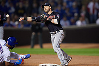 Cleveland Indians second baseman Jason Kipnis (22) throws to first base in the second inning during Game 4 of the Major League Baseball World Series against the Chicago Cubs on October 29, 2016 at Wrigley Field in Chicago, Illinois.  (Mike Janes/Four Seam Images)