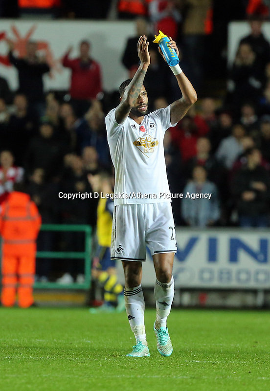 Sunday 09 November 2014 <br /> Kyle Bartley after the final whistle<br /> Barclays Premier League, Swansea City FC v Arsenal City at the Liberty Stadium, Swansea, Great Britain. EPA/Dimitris Legakis