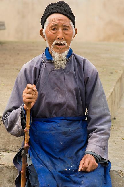 Elder of Ji Chang Han Village still dress in tradition of Ming Dynasty, China