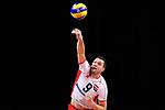 13.09.2019, Paleis 12, BrŸssel / Bruessel<br />Volleyball, Europameisterschaft, Belgien (BEL) vs. …sterreich / Oesterreich (AUT)<br /><br />Aufschlag / Service Thomas Zass (#9 AUT)<br /><br />  Foto © nordphoto / Kurth
