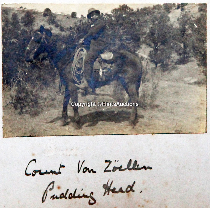 BNPS.co.uk (01202 558833)<br /> Pic: FlintsAuctions/BNPS<br /> <br /> 'Count Von Zoellin' on his horse 'Pudding Head'.<br /> <br /> Unseen album reveals the life of a cowboy in the real wild west...<br /> <br /> Fascinating previously unseen early photos of cowboys in the Wild West have come to light 130 years later.<br /> <br /> They show life on the ranches of Colorado and New Mexico in the vast expanses of the south west US in the 1880s.<br /> <br /> One dramatic image captures the thrilling moment a group of cowboys ride towards the camera with hats held aloft.<br /> <br /> The photos are thought to have been taken by a British farmhand who travelled Stateside in the late 19th century to earn a living.