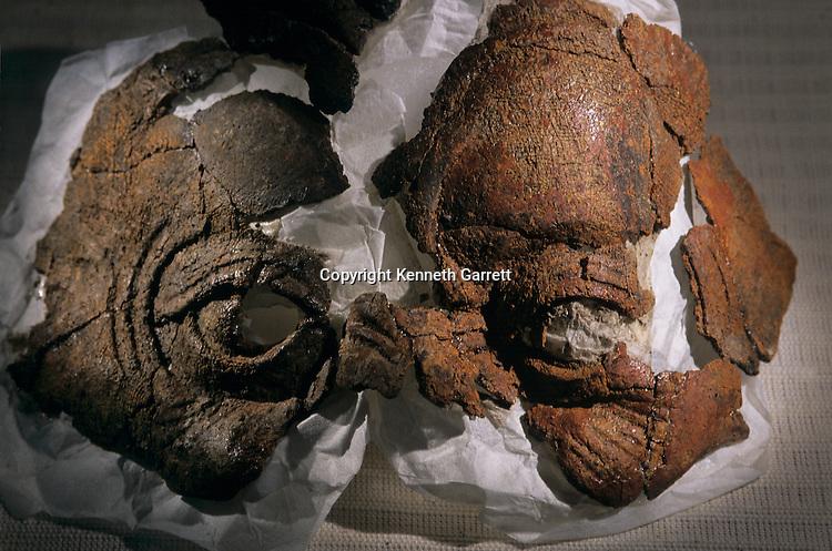 Ceramic mask found in sealed palace room, Artifact from Aguateca, Maya capital AD 700 -800, Guatemala