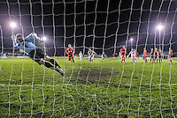 Hungerford's Paul Strudley makes an acrobatic save at his far post as a free kick is fired in from the edge of the area following a foul on Les Afful. The save helped Hungerford hold on to their 1-2 lead and claim the points, despite a spirited performance from Truro City.