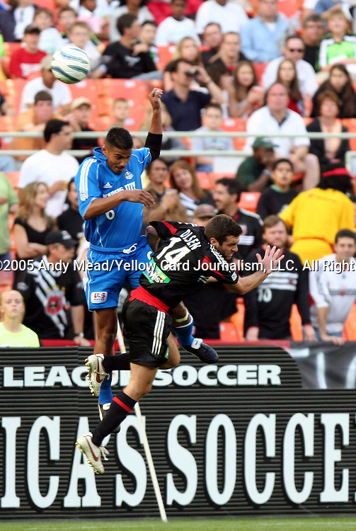 21 May 2005: Jose Burciaga, Jr. (6) and Ben Olsen (14) collide while challenging for a header. DC United defeated the Kansas City Wizards 3-2 at RFK Stadium in Washington, DC in a regular season Major League Soccer game. . .