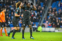 Victor Moses of Chelsea (15) Celebrates scoring his sides fourth goal   during the Premier League match between Brighton and Hove Albion and Chelsea at the American Express Community Stadium, Brighton and Hove, England on 20 January 2018. Photo by Edward Thomas / PRiME Media Images.