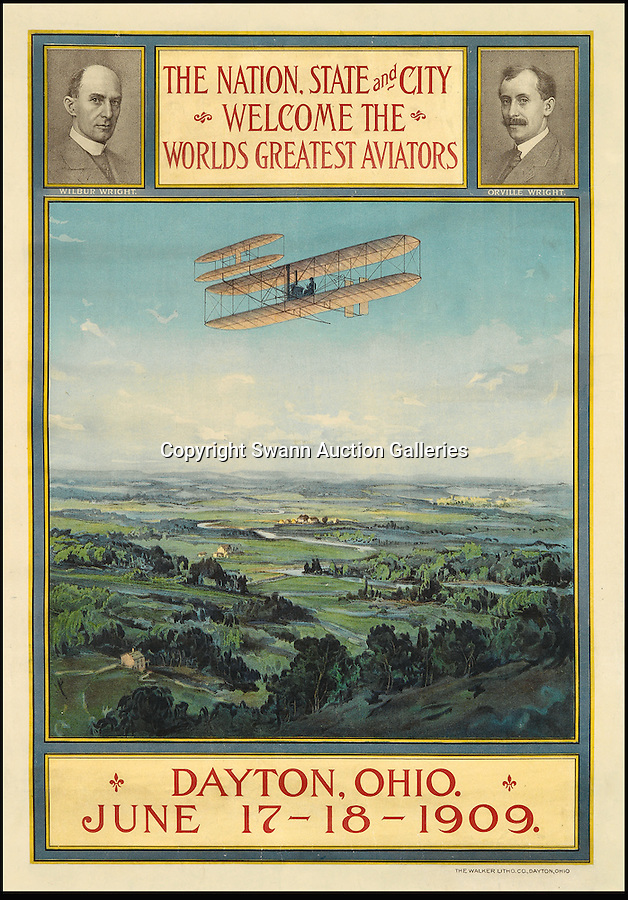 BNPS.co.uk (01202 558833)<br /> Pic: SwannGalleries/BNPS<br /> <br /> ***Please Use Full Byline***<br /> <br /> 1909 Air festival in Ohio - £17,500<br /> <br /> Beautiful posters from the halcyon days of travel up for auction.<br /> <br /> Scarce vintage travel posters promoting holidays across the globe in the 1920's and 30's are tipped to sell for over £200,000 .<br /> <br /> The fine collection of 200 works of art that hark back to the halcyon days of train and boat travel have been brought together for sale.<br /> <br /> The posters were used to advertise dream holiday destinations in far-flung places such as the US and Australia and to celebrate the luxurious ways of getting to them.<br /> <br /> Most of the advertising posters date back to the 1930s and are Art Deco in style and they are all from the original print-run.