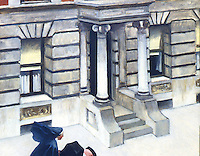 American Painters:  Edward Hopper--New York Pavements, c. 1924.  Oil on canvas.  Collection of Mr. and Mrs. H.A. Goldstone.
