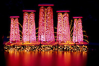 "Butchart Gardens, Brentwood Bay near Victoria, Vancouver Island, BC, British Columbia, Canada - ""Dancing Waters"" Christmas Lights and Decorations"
