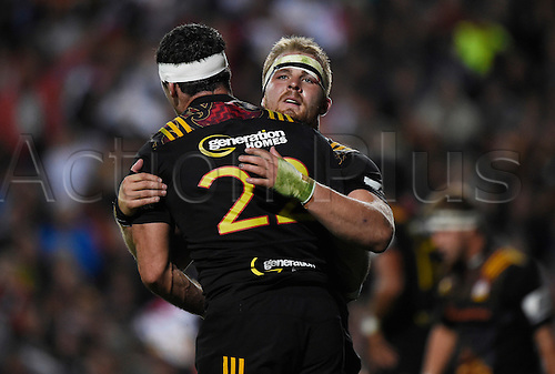 08.04.2016. Hamilton, New Zealand.  Sam Cane congratulates Stephen Donald during the Blues versus Chiefs Super Rugby match at Waikato Stadium, Hamilton, New Zealand. Friday 8 April 2016.
