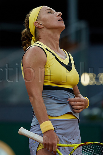 May 12th 2017, Caja Magica, Madrid, Spain; Mutua Madrid Open tennis tournament; Svetlana Kuznetsova of Russia reacts as she loses against Kristina Mladenovic of France in 2 sets