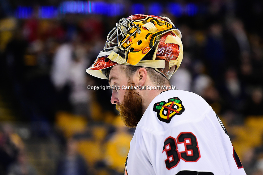 Friday, January 20, 2017: Chicago Blackhawks goalie Scott Darling (33) waits for play to resume during the National Hockey League game between the Chicago Blackhawks and the Boston Bruins held at TD Garden, in Boston, Mass. Chicago defeats Boston 1-0 in regulation time. Eric Canha/CSM