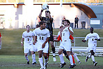10 November 2010: Wake Forest's Akira Fitzgerald grabs the ball in traffic. The University of Virginia Cavaliers defeated the Wake Forest University Demon Deacons 1-0 at Koka Booth Stadium at WakeMed Soccer Park in Cary, North Carolina in an ACC Men's Soccer Tournament Quarterfinal game.