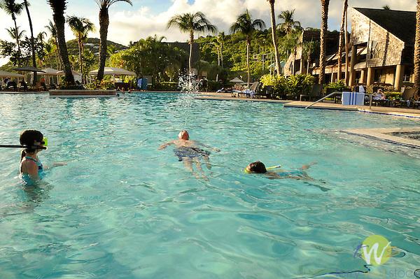 Westin Resort and Villas swimming pool, St. John, USVI, Caribbean. Children snorkeling.