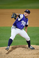 Binghamton Rumble Ponies relief pitcher Kelly Secrest (13) delivers a pitch during a game against the Akron RubberDucks on May 12, 2017 at NYSEG Stadium in Binghamton, New York.  Akron defeated Binghamton 5-1.  (Mike Janes/Four Seam Images)