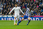Real Madrid´s Nacho Fernandez and Deportivo de la Coruna's Albert Lopo during 2014-15 La Liga match between Real Madrid and Deportivo de la Coruna at Santiago Bernabeu stadium in Madrid, Spain. February 14, 2015. (ALTERPHOTOS/Luis Fernandez)