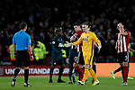 Dean Henderson of Sheffield United remonstrates with referee Stuart Attwell after VAR awarded Newcastle United a second goal during the Premier League match at Bramall Lane, Sheffield. Picture date: 5th December 2019. Picture credit should read: James Wilson/Sportimage