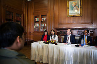 (L-R at table) Kathryn Deyell (DFAT), Pallavi Sharda (OzFest ambassador), Dr. Lachlan Strahan (Australian Deputy High Commissioner to India), and Maharaj Narendra Singh (Maharaj of Jaipur) sit together as Pallavi Sharda speaks to the media during a press conference on Oz Fest in Raj Mahal Palace hotel, Jaipur, India on 10th January 2013. Photo by Suzanne Lee/DFAT