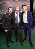 VANCOUVER, BC - OCTOBER 22: Rick Gonzalez, Marc Guggenheim and Joe Dinicol at the 100th episode celebration for tv's Arrow at the Fairmont Pacific Rim Hotel in Vancouver, British Columbia on October 22, 2016. Credit: Michael Sean Lee/MediaPunch