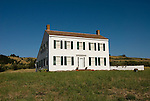 Historic Johnston House, New England style saltbox house, in Half Moon Bay, .San Mateo Coast of California, south of San Francisco.  Photo copyright Lee Foster, 510-549-2202, lee@fostertravel.com, www.fostertravel.com. Photo 450-30986