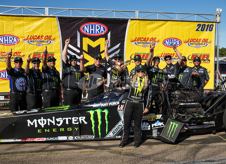 Aug 21, 2016; Brainerd, MN, USA; NHRA top fuel driver Brittany Force celebrates with her crew after winning the Lucas Oil Nationals at Brainerd International Raceway. Mandatory Credit: Mark J. Rebilas-USA TODAY Sports