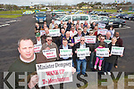 Tom Bermingham representing Taxi drivers at the protest in Tralee on Monday..