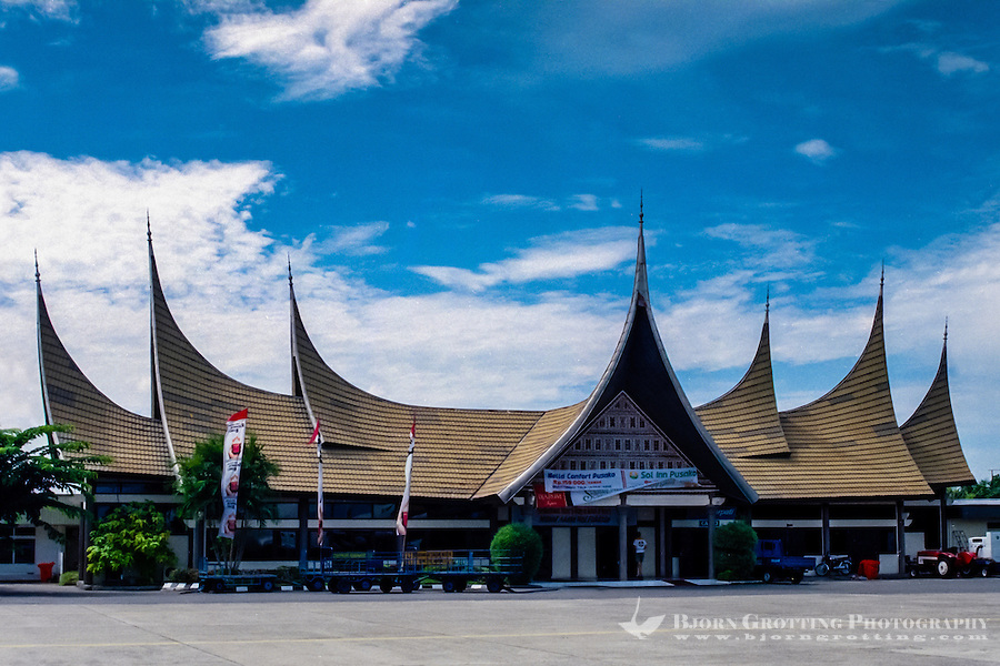 West Sumatra. Padang airport terminal. The bulls horn roofs are traditional Minangkabau architecture.