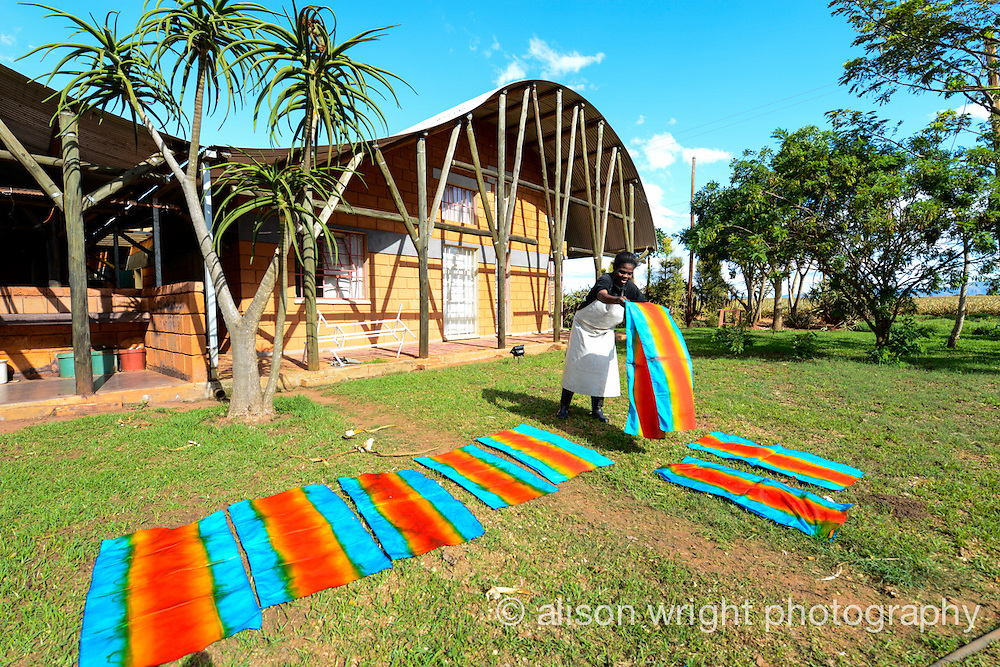 Africa, Malkerns, Swaziland, Nest organization artisans project. Nest is partnering with Baobab Batik & local artisans to help market their batik products to global markets and better sustain their local community. Nelly Ndzimandze, dying fabric at Baobab Batik.