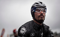 Turbo-meditation session by defending champion Julian ALAPHILIPPE (FRA/Deceuninck-Quick Step) on the start line of the 105th Liège-Bastogne-Liège 2019 (1.UWT)<br /> <br /> One day race from Liège to Liège (256km)<br /> <br /> ©kramon