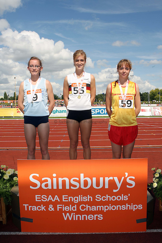 Photo: Rich Eaton/Sportsbeat Images.....Sainsbury's English Schools Track and Field Championships, Birmingham. 14/07/2007. Senior girls 800m winners l-r silver Lucy Dowsett of Cambs, gold Rachel Stringer of Norfolk and bronze Gina Rutherford of Northumberland.