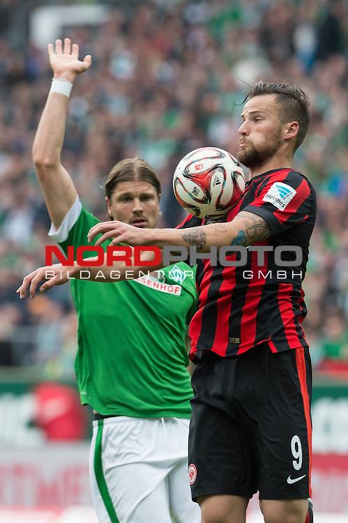 02.05.2015, Weser Stadion, Bremen, GER, 1.FBL. Werder Bremen vs Eintracht Frankfurt, im Bild<br /> <br /> <br /> Sebastian Pr&ouml;dl / Proedl (Bremen #15)<br /> Haris Seferovic (Eintracht Frankfurt)<br /> <br /> <br /> Foto &copy; nordphoto / Kokenge