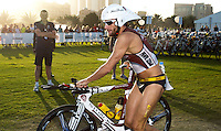12 MAR 2011 - ABU DHABI, UAE - Faris Al-Sultan exits transition for the start of the bike during the Abu Dhabi International Triathlon (PHOTO (C) NIGEL FARROW)