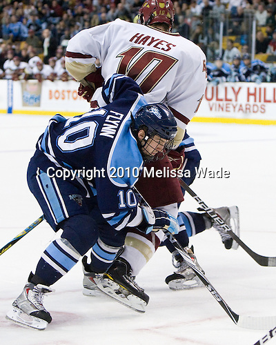 Brian Flynn (Maine - 10), Jimmy Hayes (BC - 10) - The Boston College Eagles defeated the University of Maine Black Bears 7-6 in overtime to win the Hockey East championship on Saturday, March 20, 2010, at TD Garden in Boston, Massachusetts.