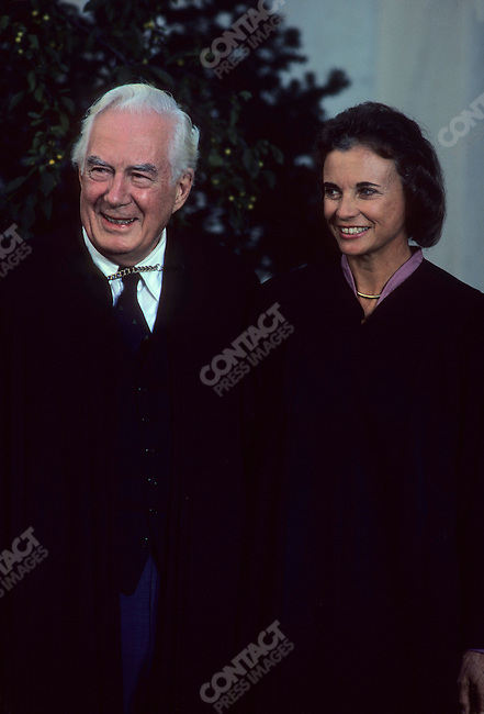 US Supreme Court Justice Sandra Day O'Connor with then Chief Justice of the US Supreme Court Warren Burger, Washington D.C., USA, September 1981