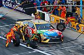 Monster Energy NASCAR Cup Series<br /> Daytona 500<br /> Daytona International Speedway, Daytona Beach, FL USA<br /> Sunday 18 February 2018<br /> Kyle Busch, Joe Gibbs Racing, M&amp;M's Toyota Camry pit stop<br /> World Copyright: Russell LaBounty<br /> LAT Images